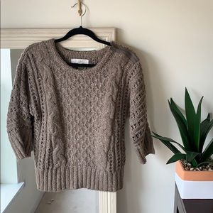 LOFT taupe brown sweater with zipper shoulder (M)✨